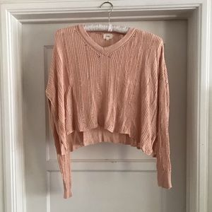 O & O- Forever 21: Distressed salmon crop sweater